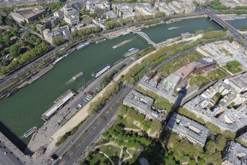 Lucht mening van Parijs van de Toren van Eiffel stock foto's