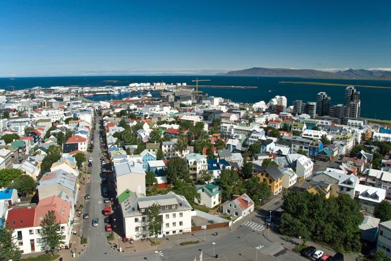 Lucht mening van Reykjavik op IJsland royalty-vrije stock afbeeldingen