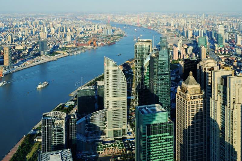 Lucht mening van Shanghai royalty-vrije stock foto's