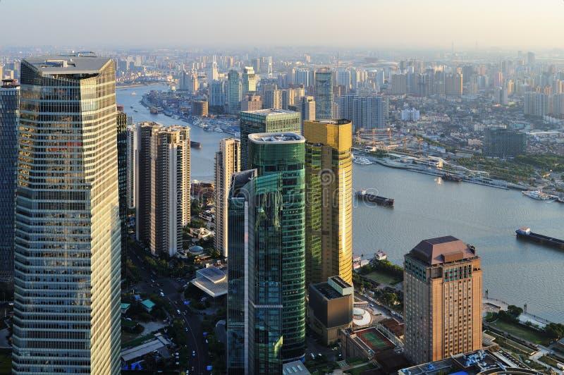 Lucht mening van Shanghai stock afbeeldingen