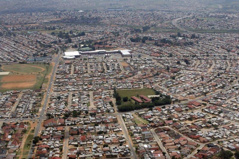 Lucht mening van Soweto, Johanneburg royalty-vrije stock foto's