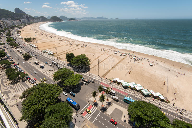 Lucht mening van Strand Copacabana royalty-vrije stock afbeelding