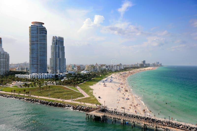 Lucht Mening van Strand het Zuid- van Miami stock foto
