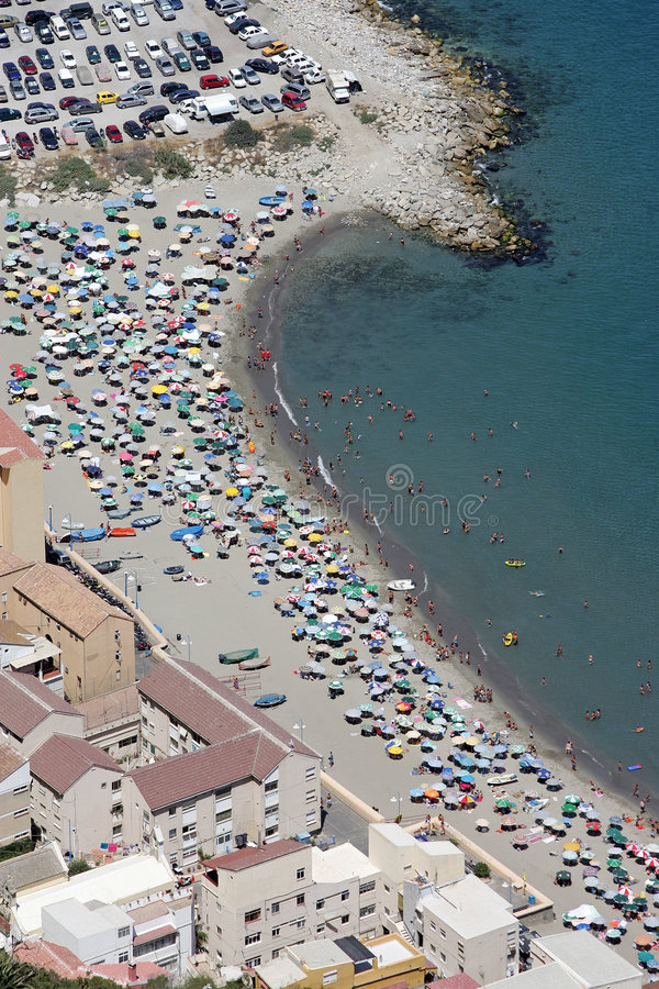 Lucht mening van strand op Gibraltar royalty-vrije stock afbeeldingen