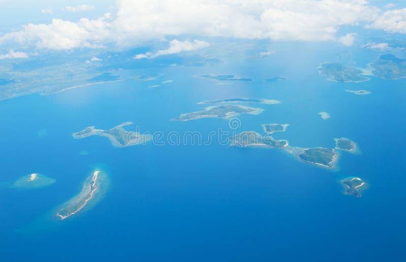 Lucht mening van tropische eilanden stock foto
