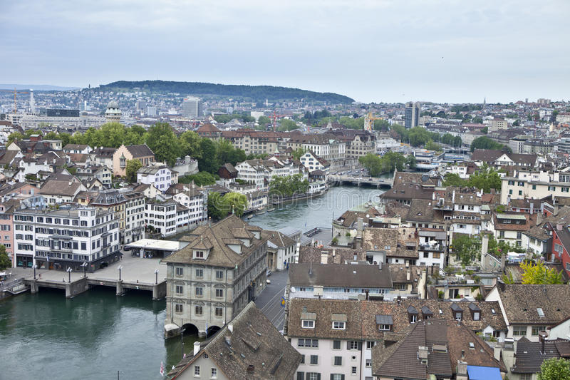 Lucht mening van Zürich royalty-vrije stock afbeeldingen