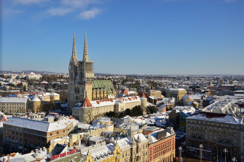Lucht mening van Zagreb stock afbeelding