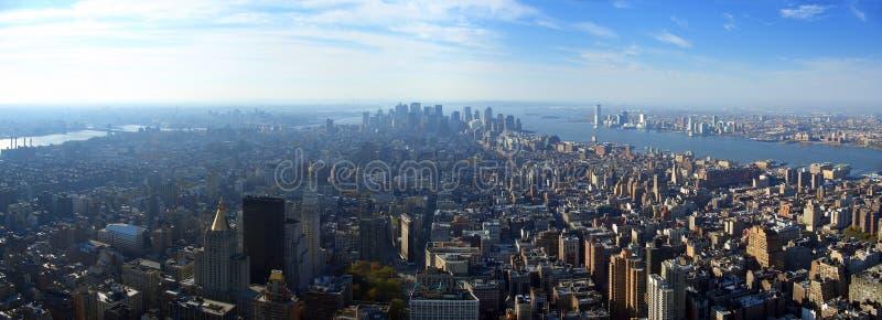 Lucht panorama over lager Manhattan, New York royalty-vrije stock afbeeldingen