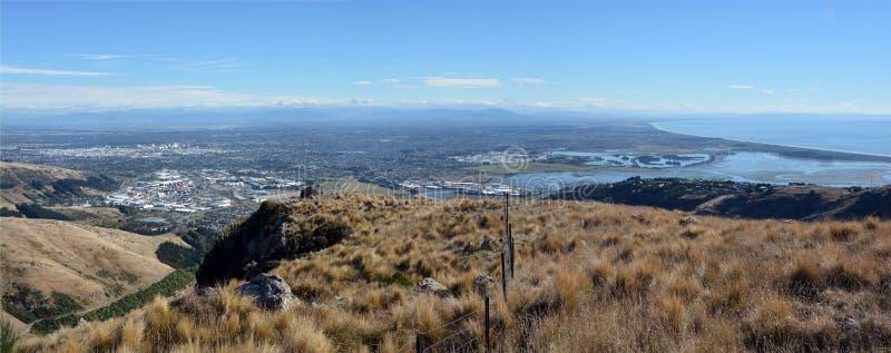 Het LuchtPanorama van de Stad van Christchurch vanaf bovenkant van de Heuvels van de Haven royalty-vrije stock fotografie
