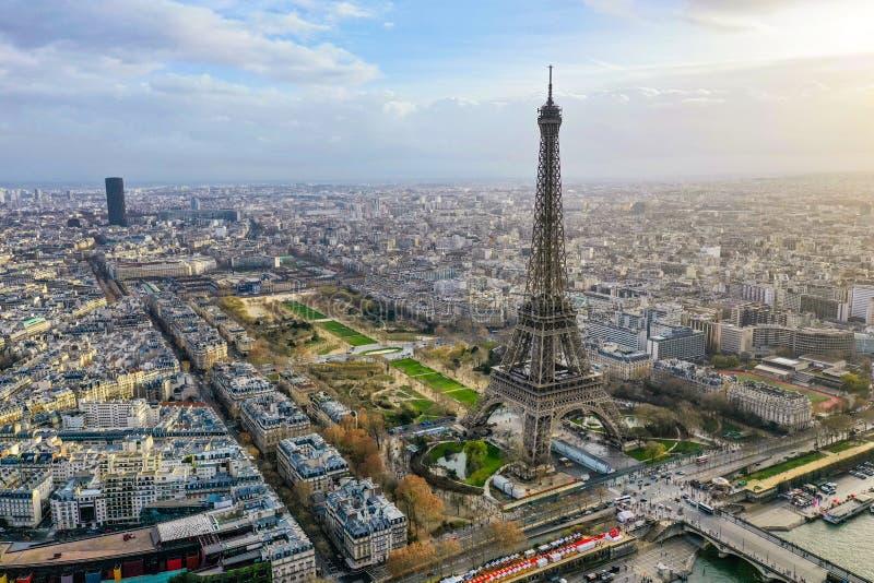Lucht Panoramisch Cityscape van mooi Parijs Weergeven stock foto