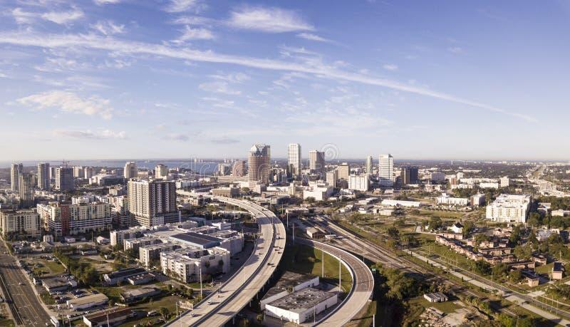 Lucht panoramische foto van het gebied van de binnenstad van Tamper, Florida stock foto's