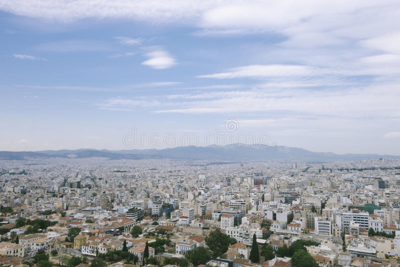 Lucht toneelmening van Athena-stad, Griekenland royalty-vrije stock afbeelding