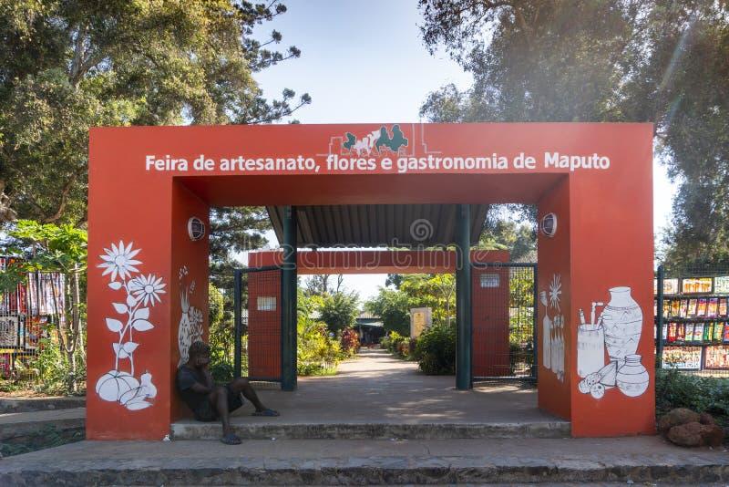 Lucht van ambacht, bloemen en gastronomie van Maputo, hoofdstad van Mozambique royalty-vrije stock foto