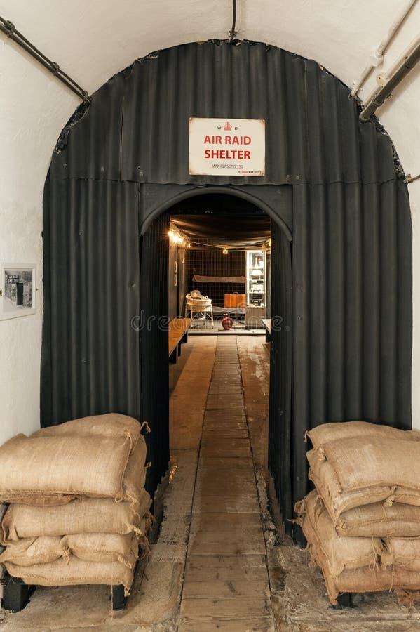 Luchtaanvalschuilplaats in de Oorlogstunnels van Jersey Complex in St Lawrence, Jersey, Kanaaleilanden, het UK royalty-vrije stock foto's