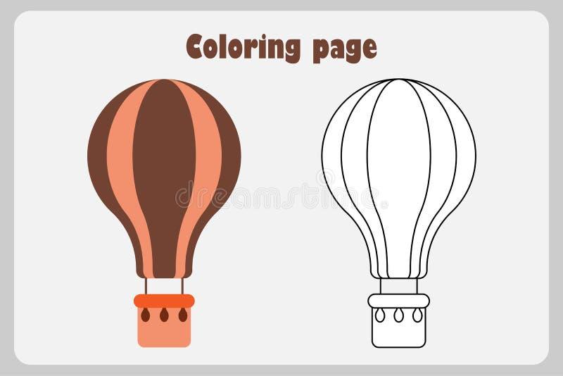 Luchtballon in beeldverhaalstijl, kleurende pagina, onderwijsdocument spel voor de ontwikkeling van kinderen, jonge geitjes peute vector illustratie