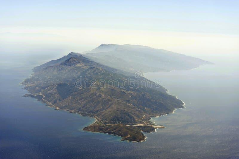 Luchtbeeld van Ikaria royalty-vrije stock fotografie