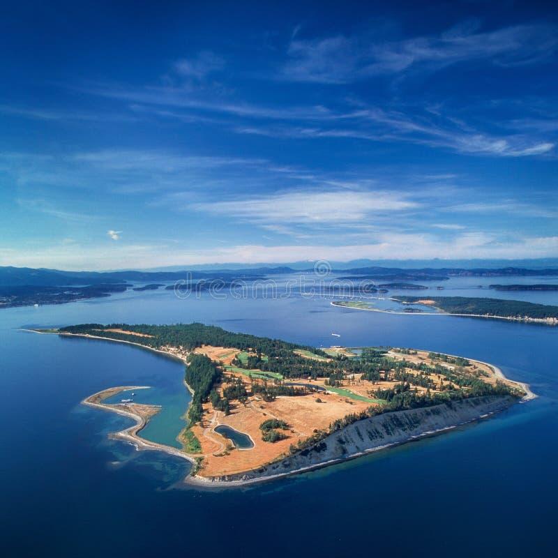 Luchtbeeld van James Island, Golfeilanden, BC, Canada stock afbeelding