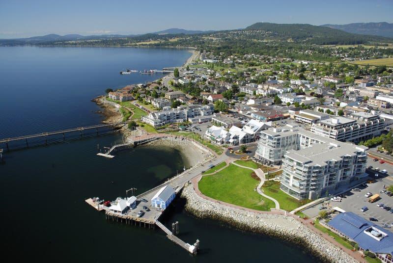 Luchtbeeld van Sidney, het Eiland van Vancouver, BC, Canada stock fotografie