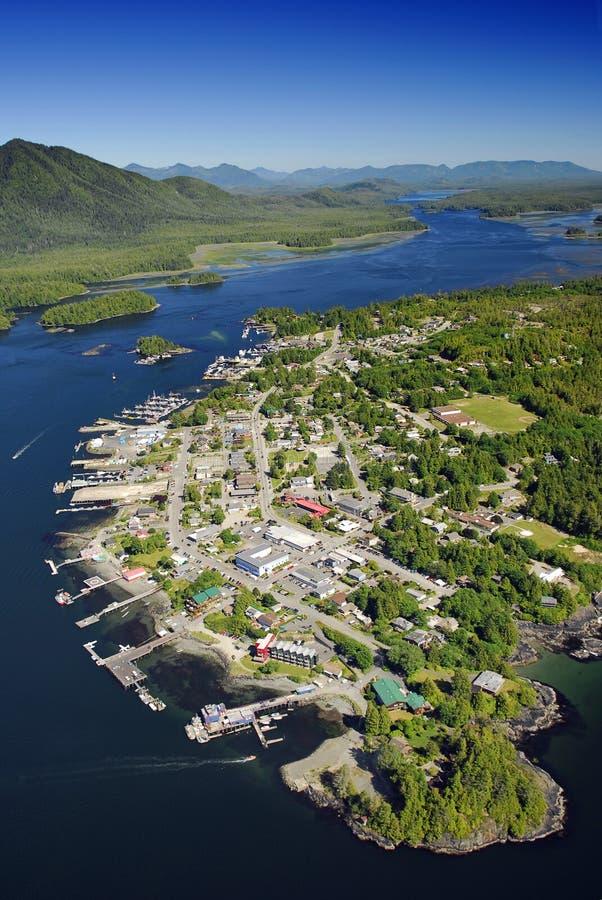 Luchtbeeld van Tofino, het Eiland van Vancouver, BC, Canada royalty-vrije stock fotografie