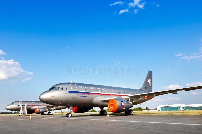 Luchtbus A319-115X CJ, Tsjechische Luchtmacht/Vaclav Havel International Airport, Ruzyne, Praag, Tsjechische republiek stock afbeelding