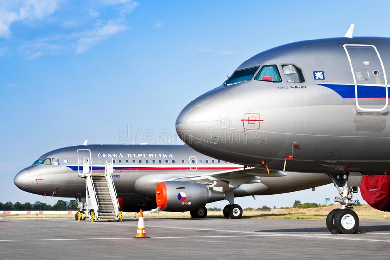 Luchtbus A319-115X CJ, Tsjechische Luchtmacht/Vaclav Havel International Airport, Ruzyne, Praag, Tsjechische republiek stock foto