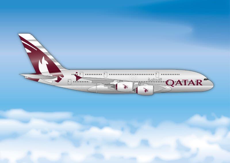 Luchtbus A380, de Luchtvaartlijnen van Qatar, de lijn van de luchtvaartlijnpassagier vector illustratie