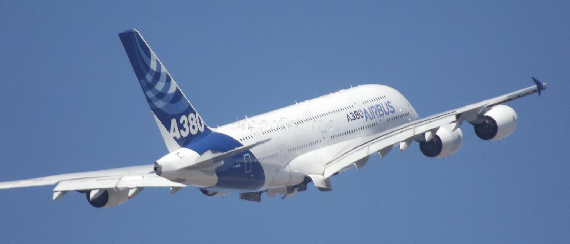 Luchtbus a380 FIDAE stock afbeeldingen