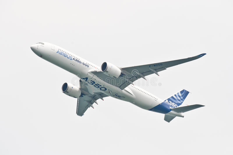 Luchtbus A350-900 @ Singapore Airshow 2014 stock foto's