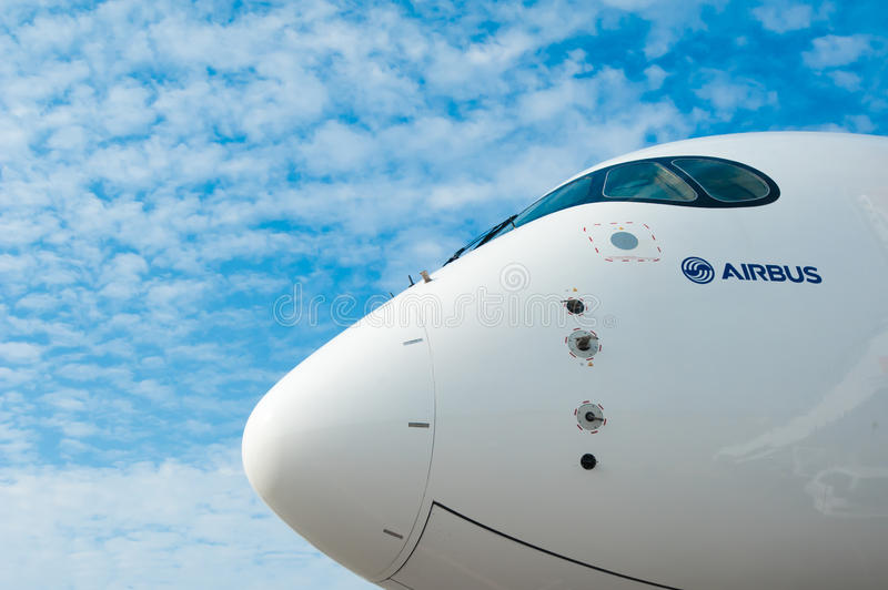 Luchtbus A350 in Singapore Airshow 2014 royalty-vrije stock foto