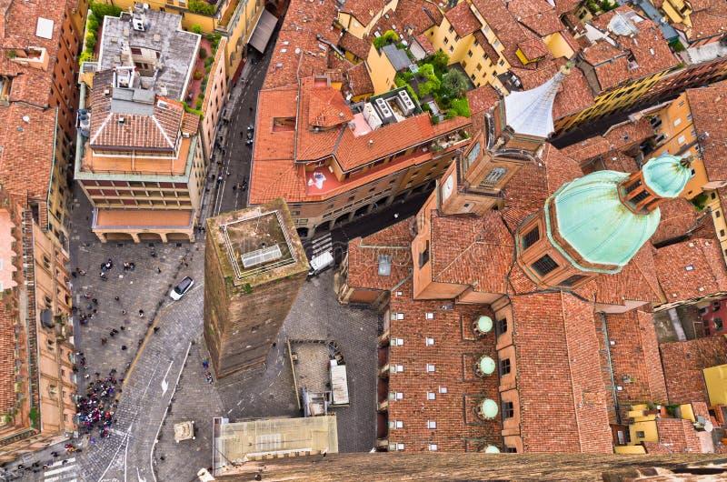 Luchtcityscape mening van twee torens, Bologna, Italië royalty-vrije stock afbeelding