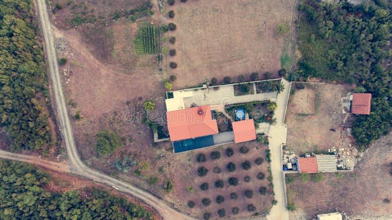 Luchtdaling onderaan mening van de huizen van het olijflandbouwbedrijf met zwembad stock afbeelding