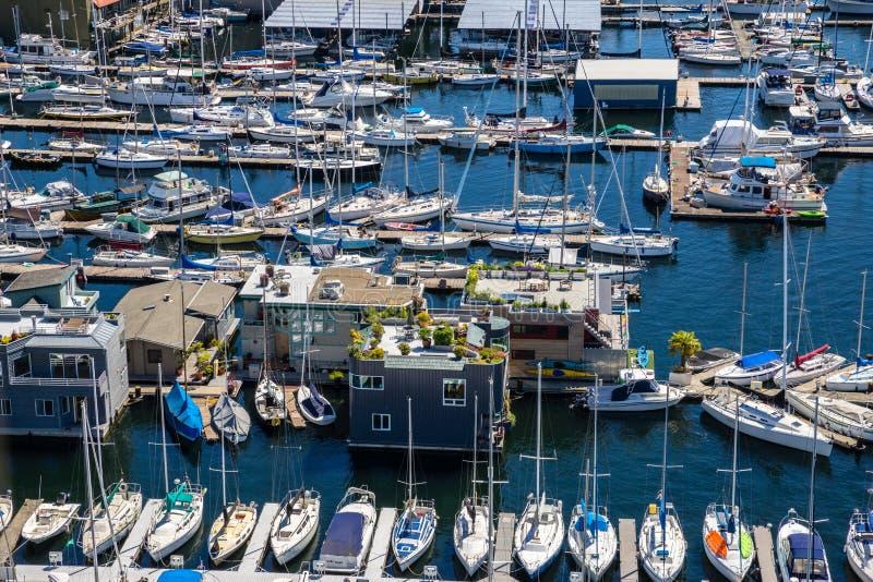 Luchtdiemening van boten op Meerunie Seattle worden vastgelegd Washington royalty-vrije stock foto's