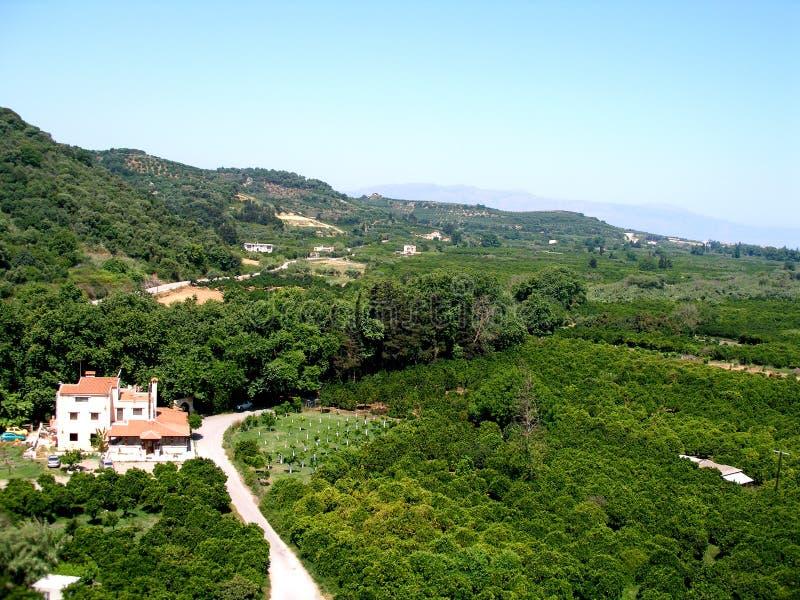 Luchtfoto, Drakiana-gebied, Platanias, Chania, Kreta, Griekenland royalty-vrije stock foto