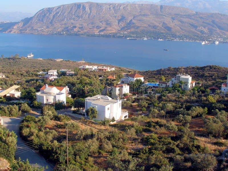 Luchtfoto, Souda-Baai, Chania, Kreta, Griekenland royalty-vrije stock afbeelding