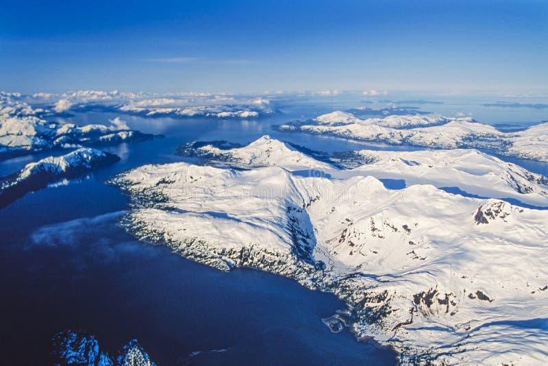 Luchtfoto van Alaska, Prins William Sound stock afbeelding