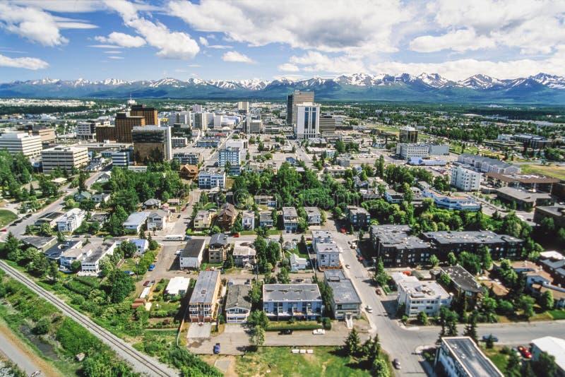 Luchtfoto van Anchorage Alaska stock fotografie
