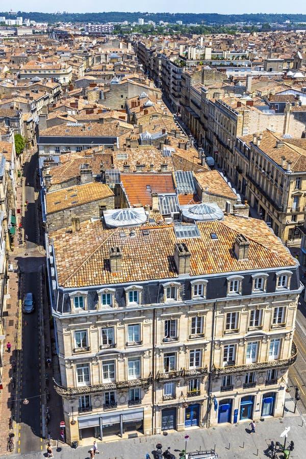 Luchtfoto van de oude stad Bordeaux, Frankrijk royalty-vrije stock afbeeldingen