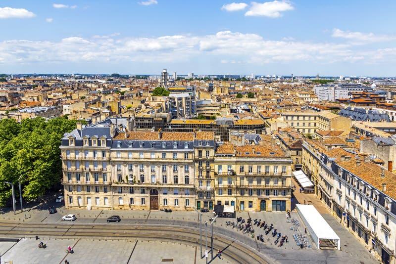 Luchtfoto van de oude stad Bordeaux, Frankrijk stock afbeeldingen