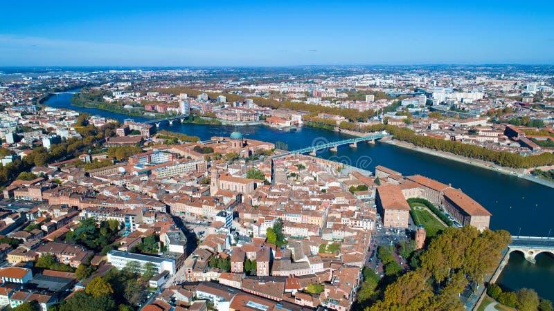 Luchtfoto van de stadscentrum van Toulouse royalty-vrije stock afbeelding