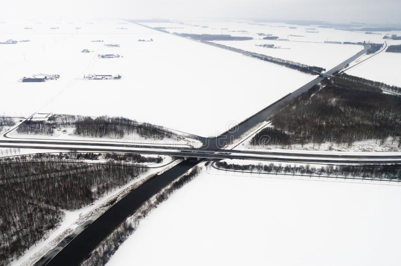Luchtfoto van Flevopolder, foto aérea de Flevopolder foto de archivo