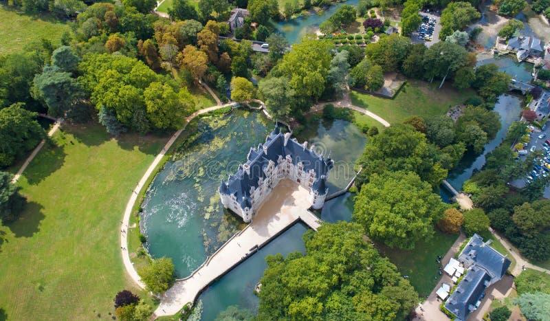 Luchtfoto van het azay kasteel van le Rideau stock foto's