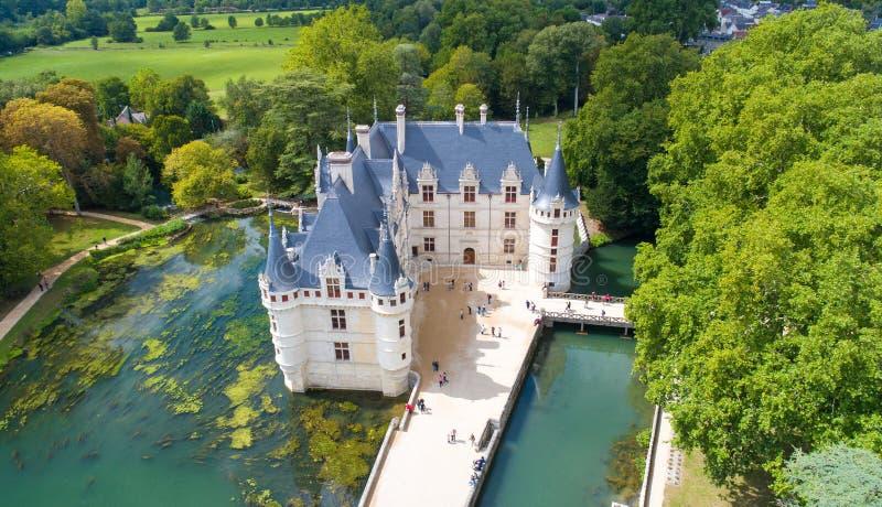 Luchtfoto van het azay kasteel van le Rideau royalty-vrije stock fotografie