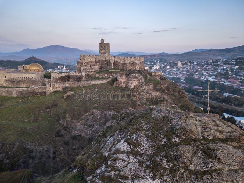 Luchtfoto van het kasteel van Rabati in Akhaltsikhe, Georgia stock foto
