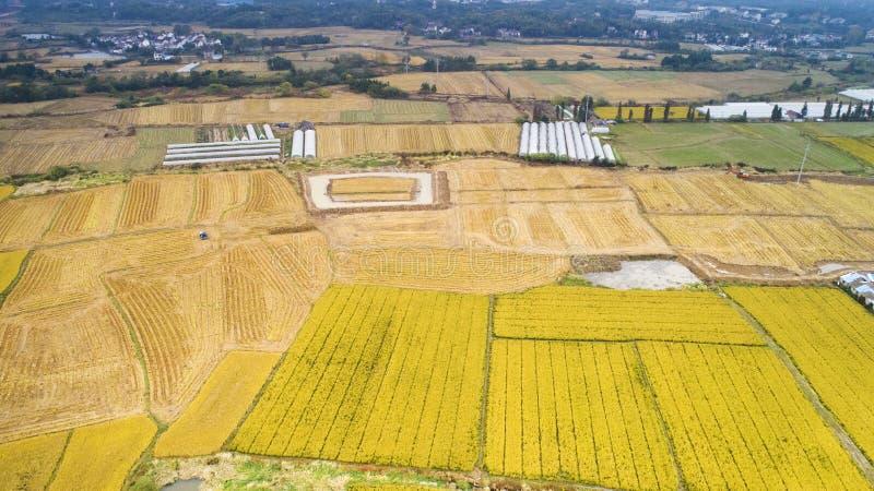 Luchtfoto van het mooie platteland van Zuid-China in de herfst stock foto's