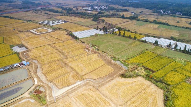 Luchtfoto van het mooie platteland van Zuid-China in de herfst royalty-vrije stock afbeelding