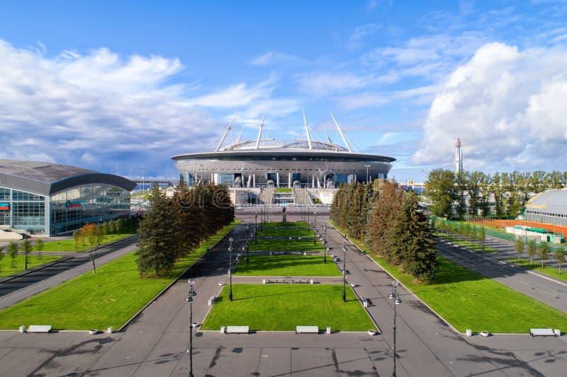 Luchtfoto van het stadion van Heilige Petersburg, ook genoemd Zenit-Arena stock fotografie