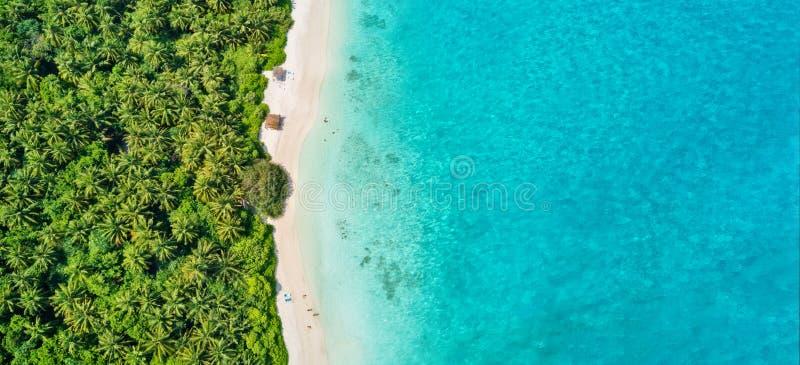 Luchtfoto van het tropische strand van de Maldiven op eiland stock afbeelding