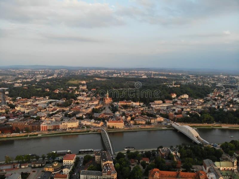 Luchtfoto van hommel De cultuur en de historische hoofdstad van Polen Comfortabel en mooi Krakau Het land van Legende stock fotografie