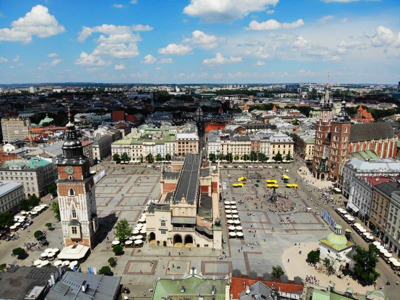 Luchtfoto van hommel De cultuur en de historische hoofdstad van Polen Comfortabel en mooi Krakau Het land van Legende oud stock afbeeldingen