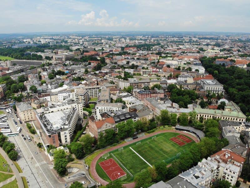 Luchtfoto van hommel De cultuur en de historische hoofdstad van Polen Comfortabel en mooi Krakau Het land van Legende stock foto
